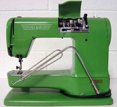 Elna Sewing Machines - This is the kind I learned on, in 1963! The thing that looks like a giant paper clip folds down and you use it to make the machine run, instead of a foot pedal.