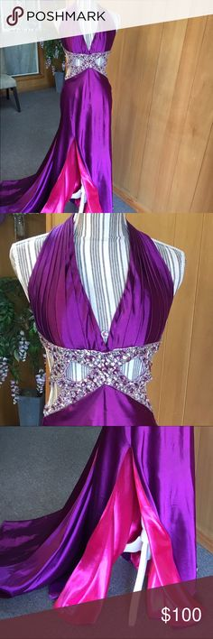 MeProm stunning dress This dress will leave you breathless as soon as you see it.  It's a beautiful purple but the slit shows that little bit of pink to make it really pop. I don't have anything else like it. You will be the bell of the ball MeProm by Moonlite Dresses Prom
