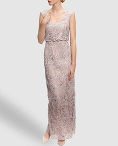 410c28f4d41 Sequin Hearts Illusion Yoke Foil Lace Pearl Waist Cut Out Back Gown   Dillards