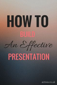 It doesn't matter how good your presentation skills are, they will be of only limited use if the presentation itself is not up to scratch. Here, we aim to give you a short introduction into some ways in which you can construct effective and powerful presentations. We hope to show you how to write a piece that will come across well to the audience, whatever the standard of the actor saying the lines. http://www.activia.co.uk/blog/how-to-build-an-effective-presentation