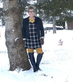 My Old Navy Plaid Tunic, Mustard Pixie pants and OTK Boots from Shoe dazzle topped with a navy Blazer
