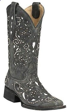 Corral Womens Distressed Black w/ White Inlay Silver Studs Square Toe Western Boots | Cavenders Boot City
