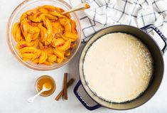 BEST Dutch Oven Peach Cobbler. EASY to make! It only takes a handful of simple ingredients to enjoy this delicious peach dessert. A must make! Easy Drop Biscuits, How To Make Biscuits, Dutch Oven Peach Cobbler, Peach Cobbler Ingredients, Whole Wheat Pie Crust, Best Dutch Oven, Dutch Oven Camping, Ripe Peach, Canned Peaches