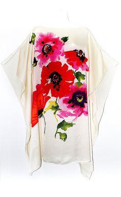 Watercolour Flowers Pure silk Kaftan by Molly by MollyKaftans, $139.00
