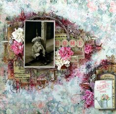 Scraps of Elegance scrapbook kits: Anna Rogalska created this amazing vintage mixed media layoutwith our May 2016 'Belle Journee' kitSubscribe to our kits and get a new box of mixed media scrapbooking fun in the mail each month! www.scrapsofdarkness.com