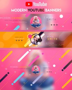 Modern YouTube Banner by youtubebanners Youtube Banner Design, Youtube Banner Template, Youtube Design, Youtube Banners, Graph Design, Pop Design, Flyer Design, Thumbnail Youtube, Thumbnail Design
