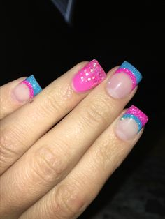 Pregnancy and infant loss awareness nails, pink and blue, miscarriage awareness