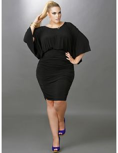 'Gia' Batwing Ruched Dress - Black   Lane Bryant
