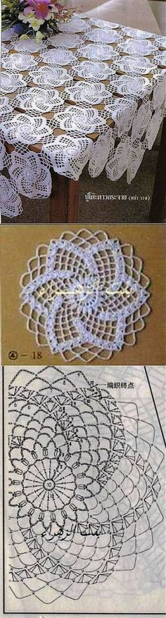 "Toalha de crochê com belo motivo [ ""Pretty design on cookies or top of cakes"", ""Tutorial for Crochet, Knitting."", ""Motif for tablecloth crochet pattern chart"" ] # # # # # # # # # Filet Crochet, Crochet Doily Diagram, Crochet Doily Patterns, Crochet Blocks, Crochet Chart, Crochet Squares, Thread Crochet, Irish Crochet, Crochet Designs"