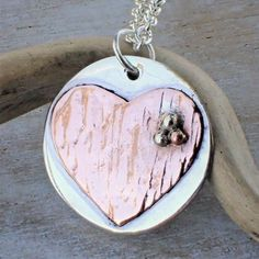 Silver and Copper Heart Necklace Boho Designs, Copper, Jewellery, Crystals, Heart, Creative, Silver, Jewels, Schmuck