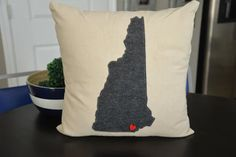 Charcoal Gray New Hampshire Pillow Cover Any by HomeSweetMichigan