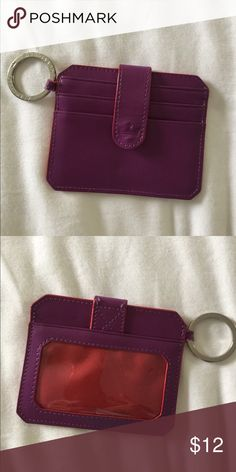 Baekgaard Keychain/ ID Wallet Keychain ID/wallet holds ID CARD and 3 credit cards and a slot for money. Genuine leather. In Purple with Red accents. Baekgaard Accessories Key & Card Holders