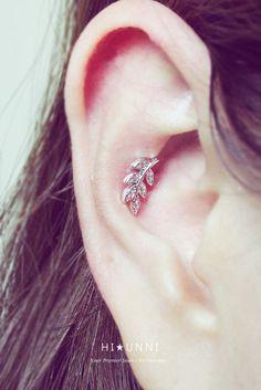16g feuille cartilage CZ boucles doreilles en hélice par HiUnni