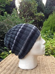 Your place to buy and sell all things handmade Knit Hat For Men, Hat For Man, Slouchy Hat, Beanie, Grey Hat, Hat Making, Grey Stripes, Dark Grey, Hand Knitting