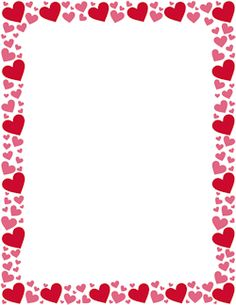 Free Red And Pink Heart Border Templates Including Printable Border Paper And Clip Art Versions File Formats Include Gif Jpg Pdf And Png