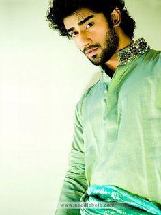 Cotton Shalwar Kameez for Men, Embroidered Collar, Celadon