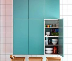 Accent a white #kitchen with #IKEA RUBRIK doors in light turquoise for a modern twist.