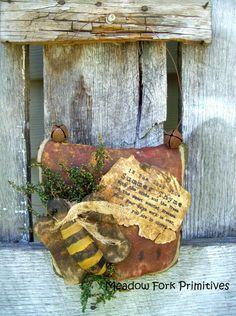 Primitive Folk Art Summer Time Bee on by MeadowForkPrims on Etsy, $26.95