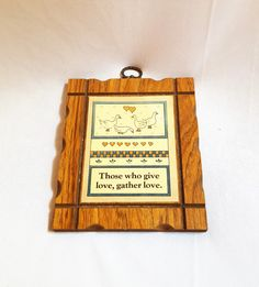 Vintage Wooden Duck Trivet // Love Quote Wall Plaque by ShareableSecrets