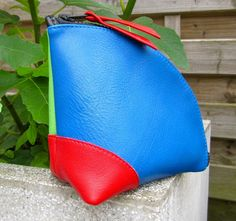 leather color block zipper pouch handmade by rinarts