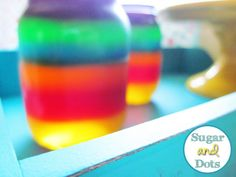Rainbow jello in a jar! one for kids  and one for adult shots
