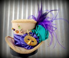 Mardi Gras Mini Top Hat Mad hatter Hat Alice in by ChikiBird, $48.00