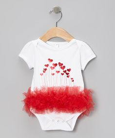 Take a look at this White & Red Heart Balloon Ruffle Bodysuit - Infant by Bubby & Belle on #zulily today!