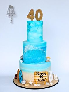 Hand painted beach themed cake - Cake by Color Drama Cakes