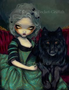 Loup-Garou : Noir –  A Gothic Rococo style portrait of a beautiful Coulter lady (perhaps a vampire?) and her magnificent black wolf companion.