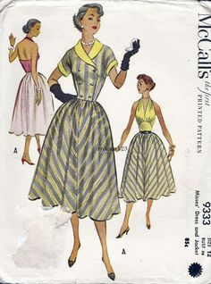 Vintage 1953 Full Skirt Halter Dress Shaped Midriff Double Breasted Jacket...McCalls 9333 Bust 30