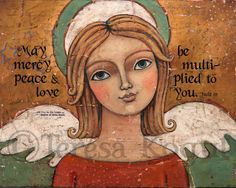 Misericordia, paz & amor (con escritura) 8 x 10 grabado por Teresa Kogut