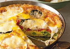 Start your day off with a satisfying Broccoli, Smoked Mozzarella and Roasted Red Pepper Frittata. ♥ Food Republic