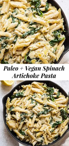 This spinach artichoke pasta is a new favorite of mine! This fast and easy creamy pasta dish is grain free, paleo, dairy free and vegan but you'd never know! Great for quick weeknight dinners and the leftovers are perfect for a next day lunch. #paleo #glutenfree #grainfree #cleaneating #vegan Paleo Pasta, Healthy Pasta Dishes, Creamy Pasta Dishes, Healthy Pastas, Delicious Dishes, Spinach Artichoke Pasta, Creamy Spinach, Paleo Recipes Easy, Paleo Meals