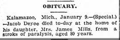 Genealogical Gems: Sunday's Obituary: Jacob Deyoe dies in Kalamazoo
