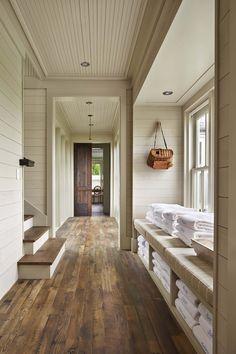 Shiplap walls, headboard ceiling with crown moulding, beautiful wood floors . . .