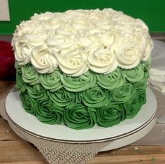 Green Ombre Rose Cake
