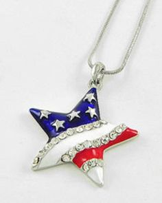 PATRIOTIC-RHINESTONE-4TH-OF-JULY-RED-WHITE-BLUE-STAR-NECKLACE