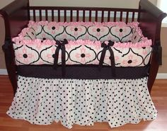 Allison Baby Bedding  Included in this luxurious 3 piece set is the bumper, ultra soft minky crib sheet, and extra long and full ruffled crib skirt.  There is lots of detail in this custom set including soft cotton pique bumper ruffles, NEW limited edition designer bumper fabric, black grosgrain bows, super full and long black and white polka dot crib skirt.
