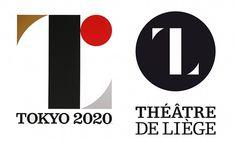 Left, the Tokyo 2020 logo. Right, the Théâtre de Liege design.