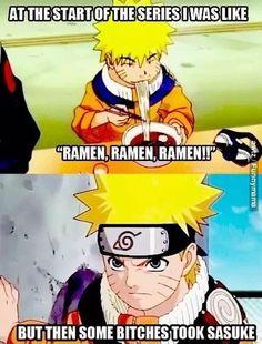 Naruto : Sasuke > Ramen <3 this is so cute! SasuNaru