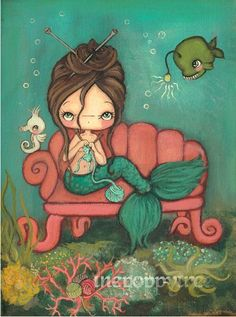 Mermaid Painting Print Nautical Art Girl Seahorse Children Original Wall Art Decor---The Knitting Mermaid 9 x 12 by thepoppytree on Etsy https://www.etsy.com/listing/236032769/mermaid-painting-print-nautical-art-girl