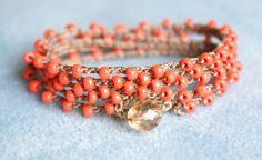 Coral boho crochet wrap bracelet necklace bohemian by OlenaDesigns