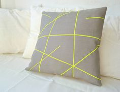 Grey linen with neon yellow stripes pillow cover by PALEOLOCHIC, €23.00