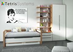 Dormitorio juvenil moderno con #cama #compacta deslizante con brazos de madera y cajones, #cómoda con 3 cajones, #estantería modular regulable y #armario.