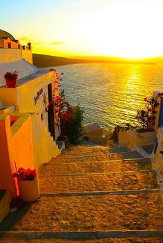 Lovely sunset at beautiful picturesque Greece