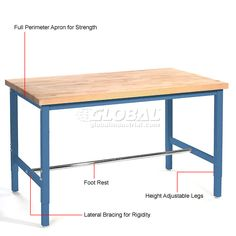 "Work Bench Systems | Adjustable Height | 72""W x 30""D Production Workbench, Maple Butcher Block Square Edge - Blue 