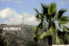 Intersection of Hollywood Bvd & North Highland Ave. Hollywood sign. LA