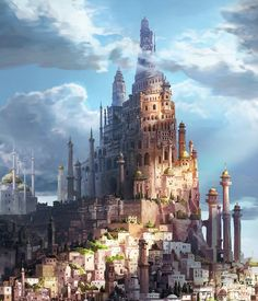 """Elyndia, capital city (""""Prince of Persia: The Sands of Time"""", concept art, ©2008 Disney)"""
