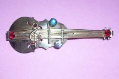MARCH SALE Vintage Violin Rhinestone Gold Tone by MICSJEWELSGALORE