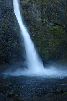 """Horsetail Falls, Columbia River Gorge, boy and old man walking to """"under it"""" one fell in - wasn't the boy.  lmao!"""